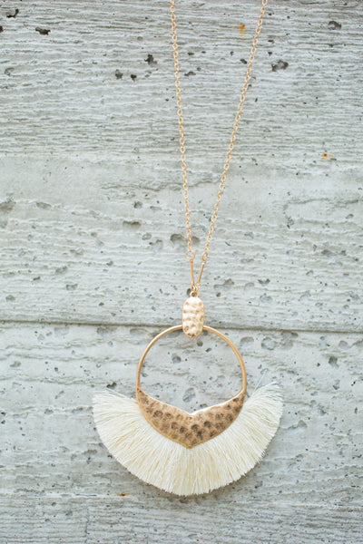 Tassel Pendant Necklace - Ivory
