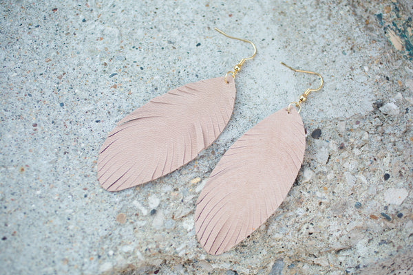 Leather Feather Earrings - Light Tan