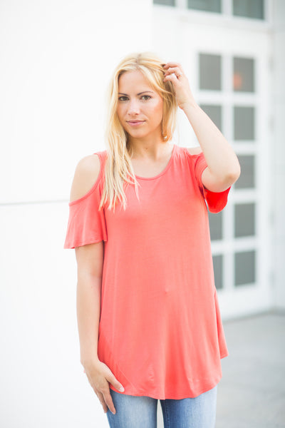 Cold Shoulder Tee - Coral