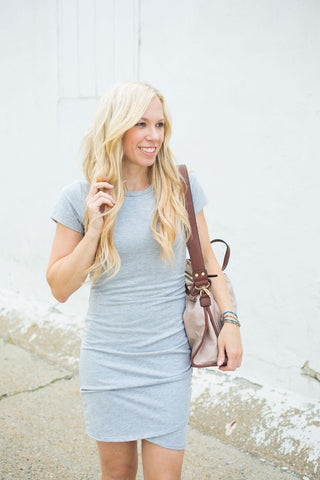 Ruched Side Dress - Heather Grey