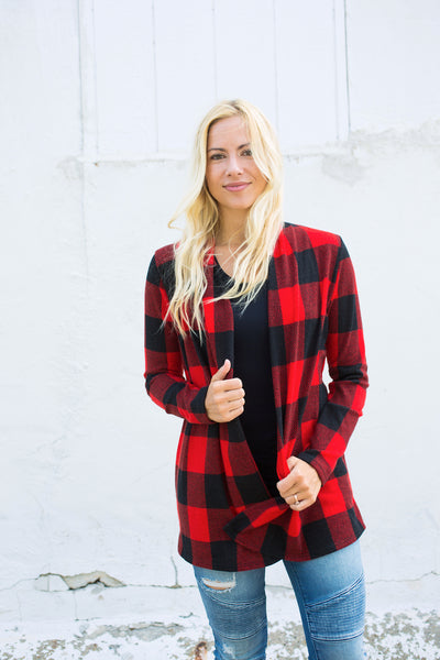 Buffalo Plaid Elbow Patch Cardigan | S-3X