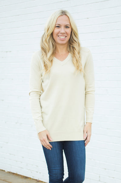 Side Button Down Sweater - Ivory - S-XXXL