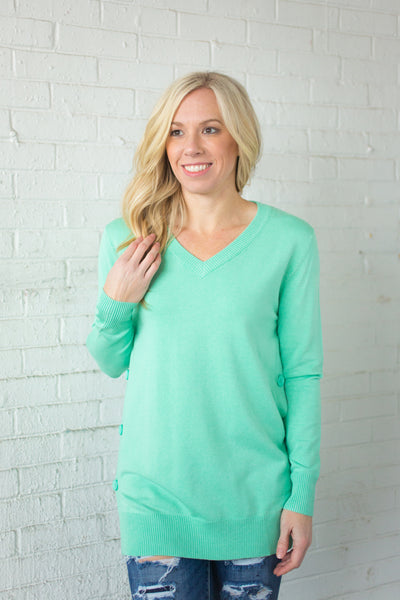 Side Button Down Sweater - Mint - S-XXXL