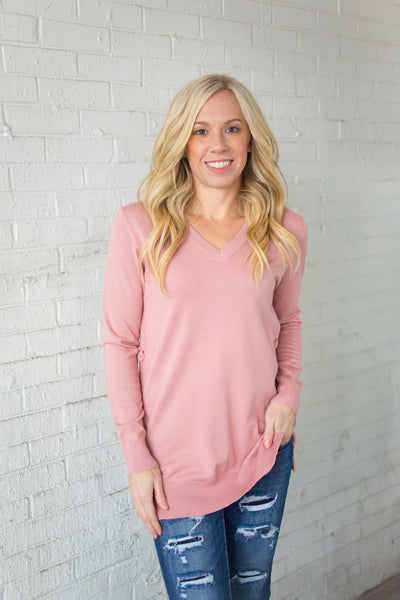 Side Button Down Sweater - Pink - S-XXXL