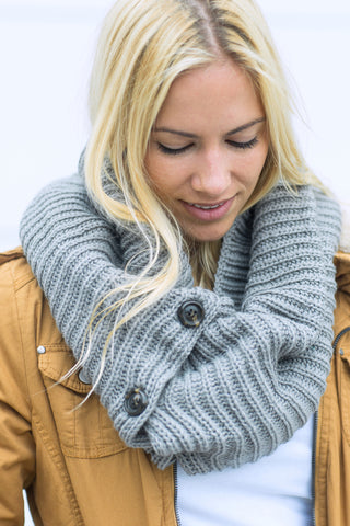 Button Accent Cozy Scarf