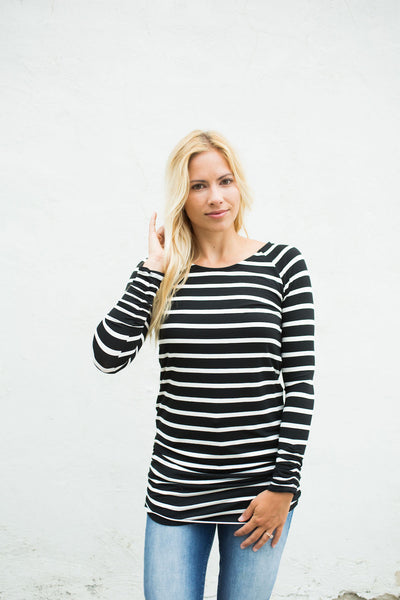 Striped Ruched Side Tunic - Black/White