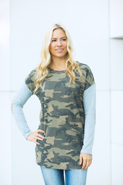 Elbow Patch Camo Tunic