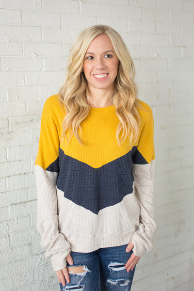 Chevron Colorblock Top - Mustard - S-3X