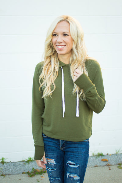 Cropped Fleece Lined Hoodie - Olive - S-XL