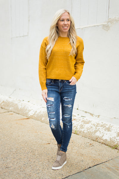 DROP SHOULDER CROP SWEATER - Mustard - S-L