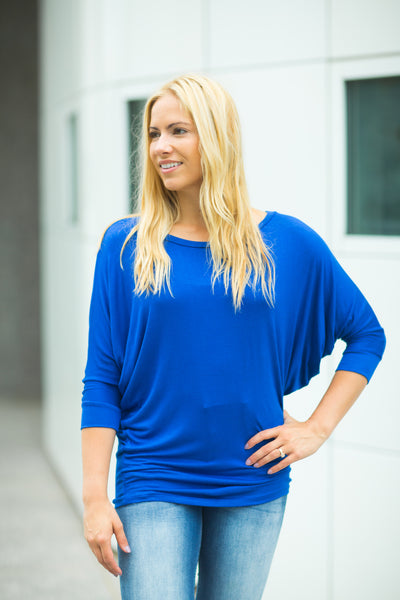 3/4 Sleeve Dolman - Royal Blue
