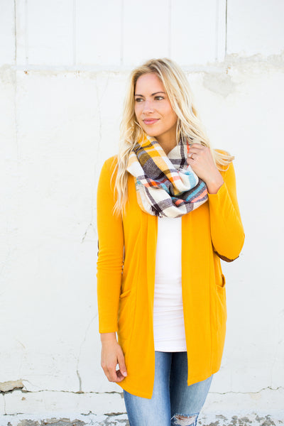 Elbow Patch Cardigan - Mustard