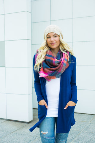 Elbow Patch Cardigan - Navy