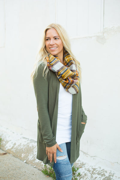 Elbow Patch Cardigan - Olive