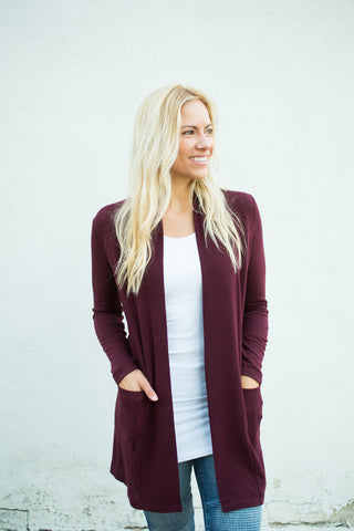 Elbow Patch Cardigan - Wine