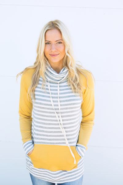 Striped Elbow Patch Cowl Neck