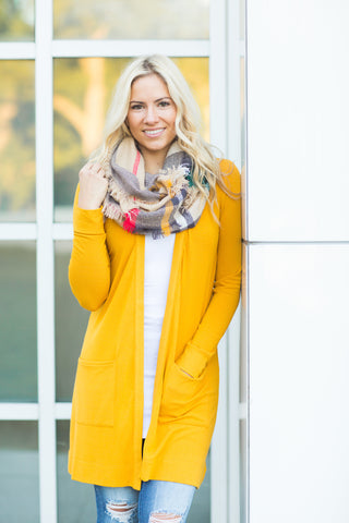 Long Pocket Cardigan - Mustard