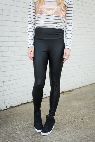 Faux Leather Leggings - Black - S-3X