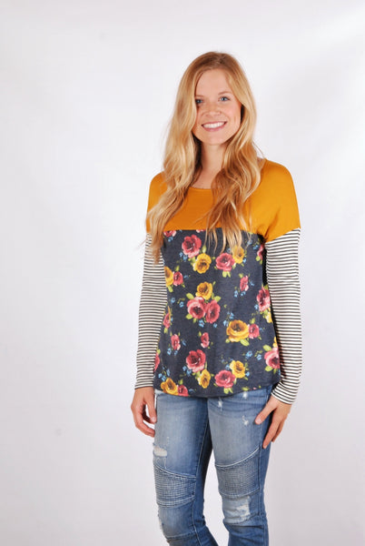 Floral Tunic - Mustard