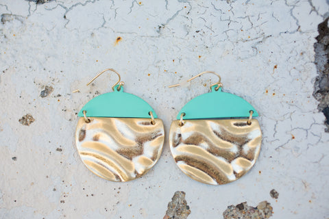 Two Tone Earring - Mint