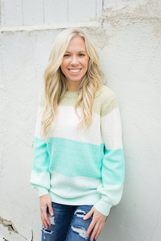 Colorblock Sweater - Mint - S-L