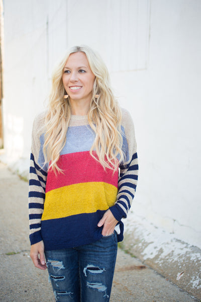 Colorblock Sheer Sweater - Navy