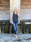 Tri-Blend Scoop Neck Tank - Navy
