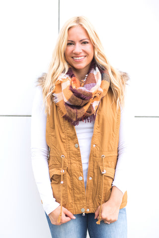 Plaid Infinity Scarf - Autumn