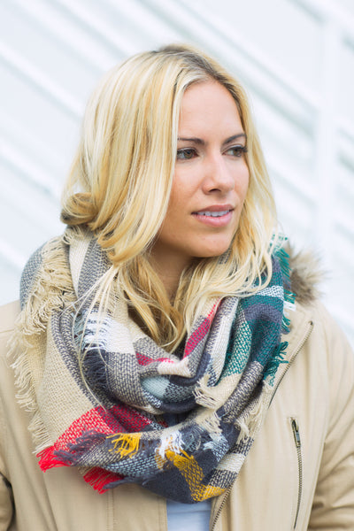 Plaid Infinity Scarf - Multicolored
