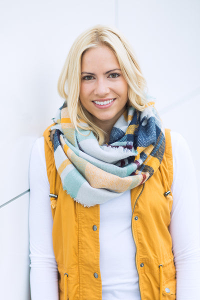 Plaid Infinity Scarf - Mint