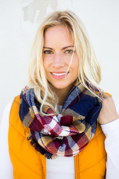 Plaid Infinity Scarf - Navy