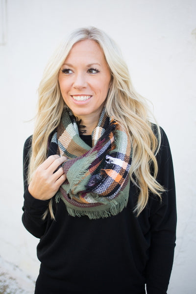 Plaid Infinity Scarf - Olive
