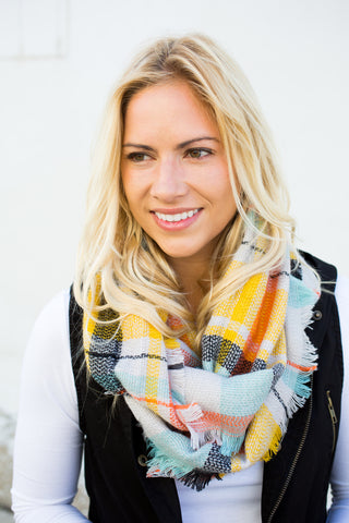 Plaid Infinity Scarf - Orange/Mint