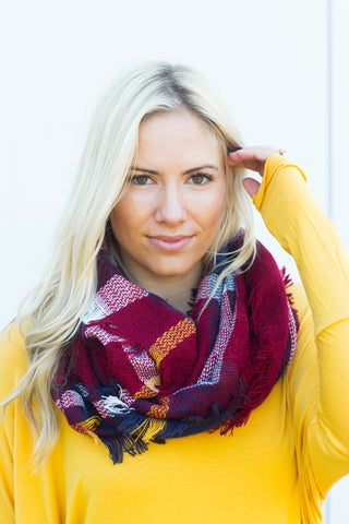 Plaid Infinity Scarf - Red/Navy