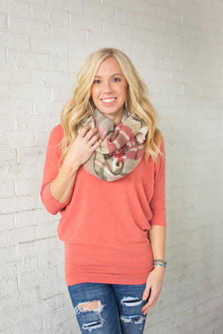 Plaid Infinity Scarf - Rose