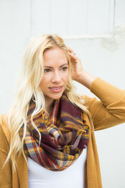 Plaid Infinity Scarf - Wine