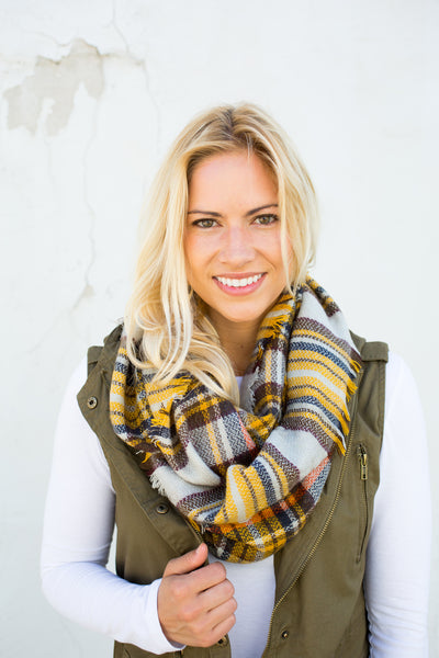 Plaid Infinity Scarf - Yellow