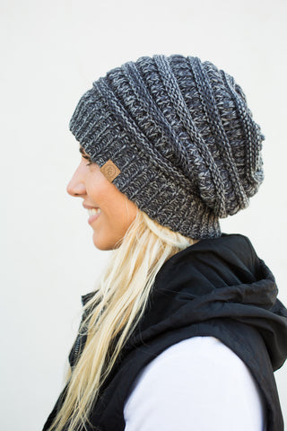 Slouch Beanie - Variegated Black