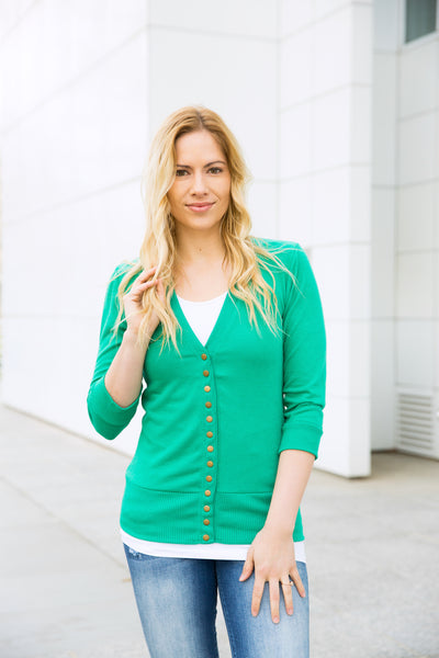 3/4 Sleeve Snap Cardigan - Kelly Green
