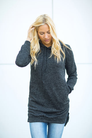 Extra Long Hoodie - Charcoal