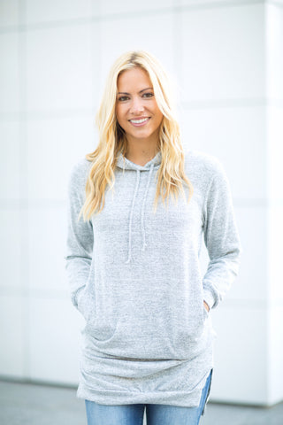 Extra Long Hoodie - Heather Grey