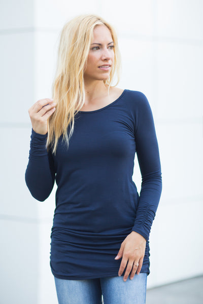 Ruched Side Tunic - Navy