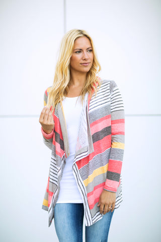 Coral Striped Cardigan - Long Sleeve