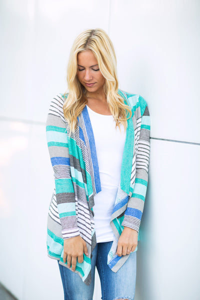 Mint Striped Cardigan - Long Sleeve