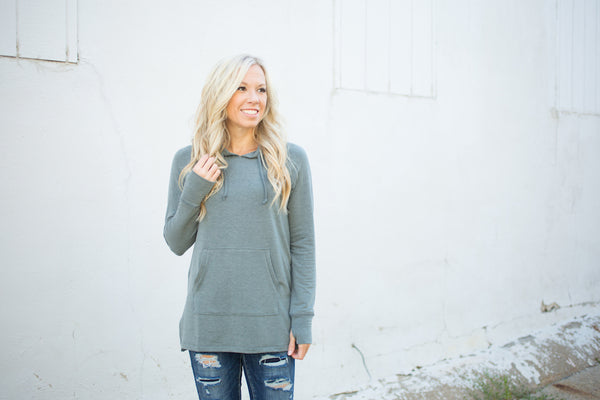 Soft Side Slit Tunic w/Thumbholes - Olive - S-XXXL