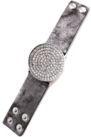 Large Rhinestone Circle Bracelet - 2 Colors