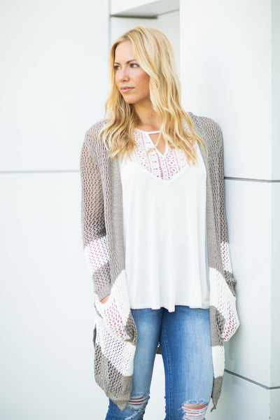 Striped Bottom Cardigan