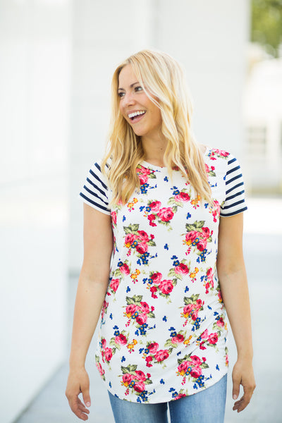 Striped Sleeve Floral Tunic - S-3X