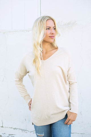 Ultra Soft Vneck Sweater - Beige