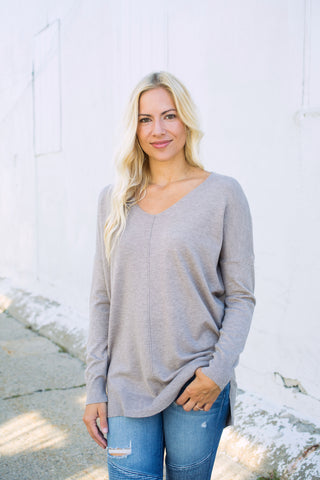 Ultra Soft Vneck Sweater - Mocha
